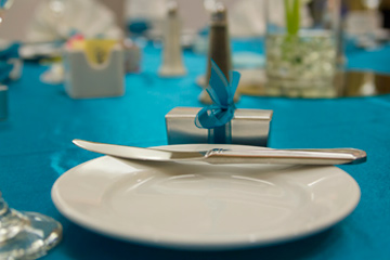 Teal blue place setting
