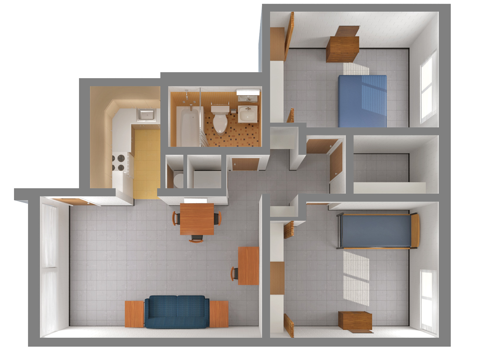 2 Bedroom Furnished Apartment 2 Top. Orchard Downs Layouts  University Housing at the University of