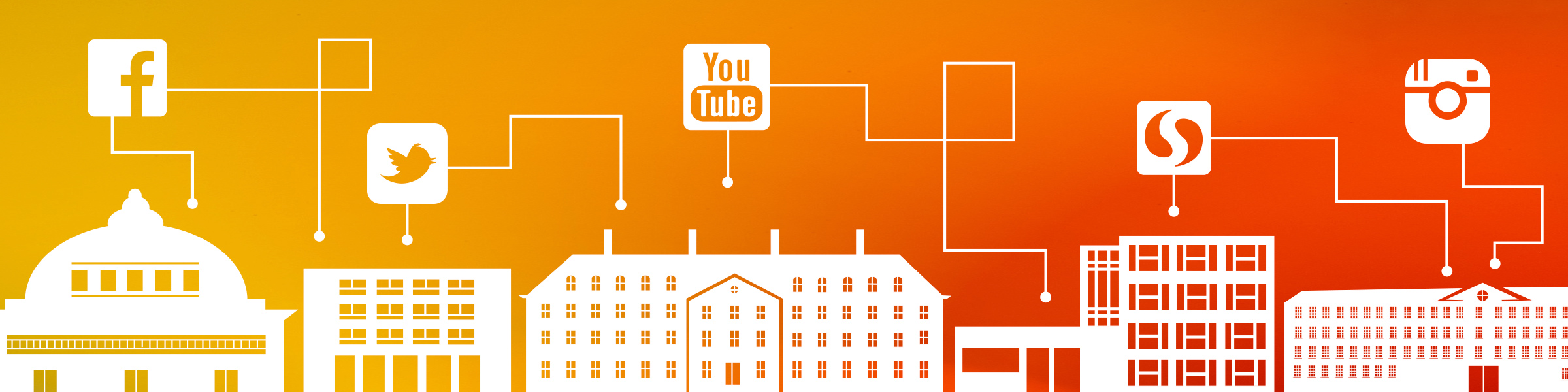 Orange And Yellow Images Showing Housing Buildings And Social Media Icons