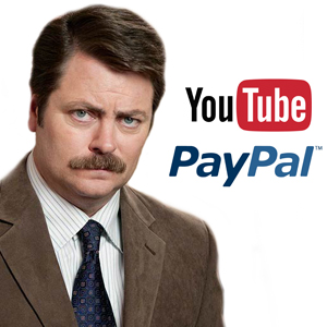 Nick Offerman, Youtube, and Paypal logo