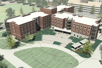 Architect's rendering of the new residence hall