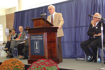 Timothy Nugent speaking at hall opening